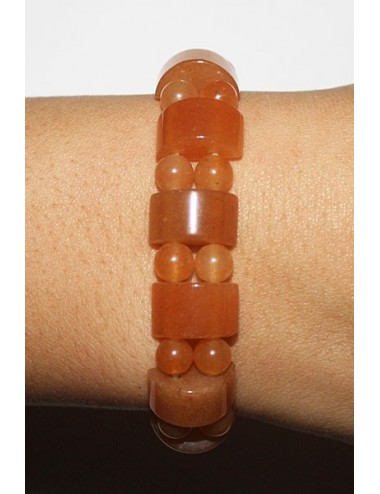 Bracelet 1/2 rond aventurine orange