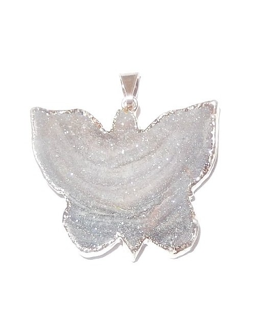Pendentif calcédoine micro-cristallisée papillon